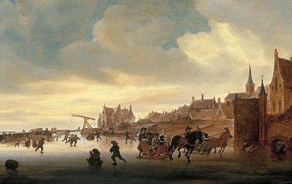 Salomon Jacobsz van Ruysdael - Escena de invierno con patinadores y trineos ante una ciudad